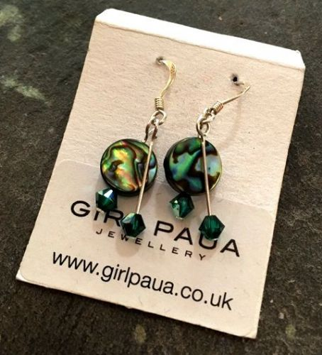 PE01-DD-C Paua & Swarovski Double Drop Circle Earrings (EM)